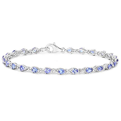 The Tanzanite Collection: Ladies Sterling Silver 24 Stone Pear Shape 3.36...