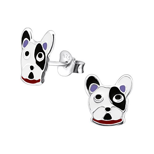 Sterling Silver French Bulldog Earrings - Black and White Gift