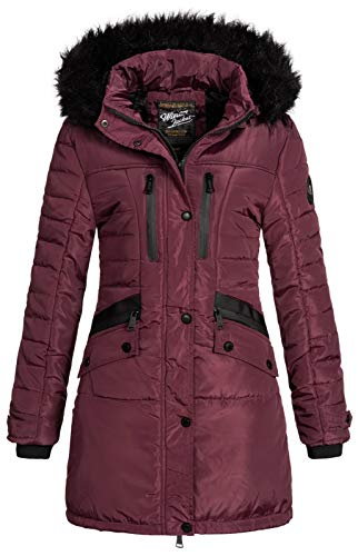 Geographical Norway Brunch - Parka invernale trapuntato con cappuccio in pelliccia, da donna bordeaux XL