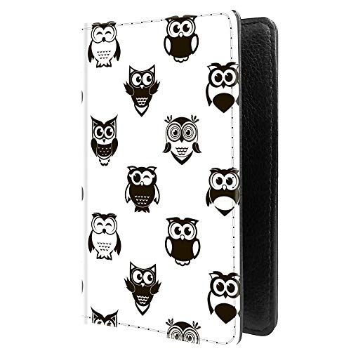 PU Leather Passport Holder Travel Wallet RFID Blocking Card Case Cover With Unique Pattern (BW Owls Pattern £