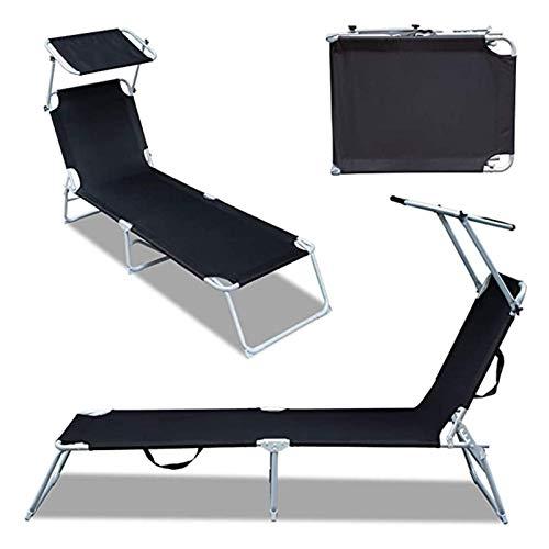 plhzh Sedie a Sdraio con lettini da Giardino pensile, Sdraio ergonomiche in Alluminio, Sdraio da Spiaggia Pieghevoli, Fino a 120 kg, Nero