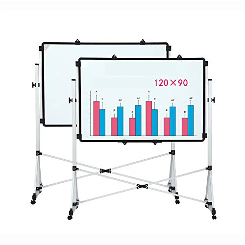 Ryyland-Home Tableau Blanc Le Support 4 Roues Whiteboard avec Universal, Double Face magnétique Mobile Tableau Blanc Tableau Blanc Tableau Blanc Mobile (Color : White, Size : 90x120cm)