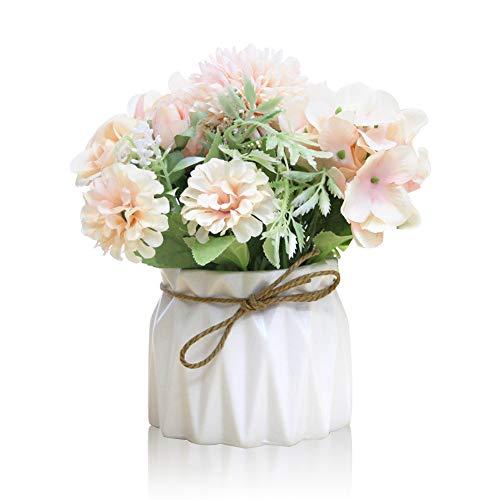 Keleily Hortensien Kunstblumen mit Keramikvase Künstliche Blumen im Topf Rosen Seidenblumen Blumenstrauß Künstlich mit Vase für Hochzeit, Büro, Tisch, Fenster, Wohnzimmer, Schlafzimmer, Party, Rosa