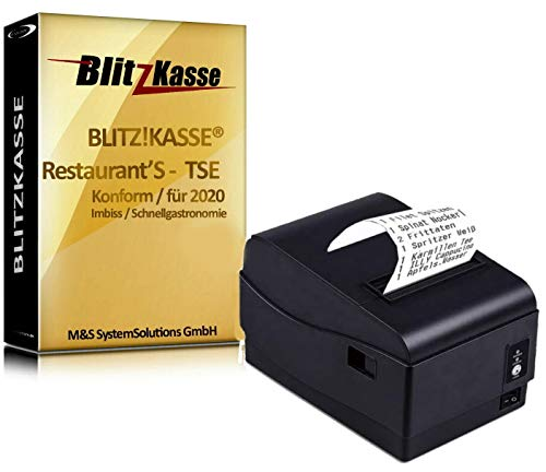 GASTRO Kassen-Set: Bondrucker + Kassensoftware für Gastronomie Blitzkasse Restaurant'S TSE-Konform, für Restaurant Cafe Bar Pizzeria