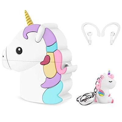 CE-Link Unicornio Funda para Airpods 1 & 2 Case Cover Silicona Protective Carcasa Cute Lindo Dibujo Animado en 3D con Lllavero Diseño de Ganchos para Las Orejas para Niñas Niños - Vistoso y Blanco