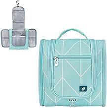 PAVILIA Hanging Travel Toiletry Bag Women Men | Hygiene Bag, Bathroom Toiletry Organizer Kit for Cosmetics, Makeup, Toiletries Accessories (Teal Chevron)