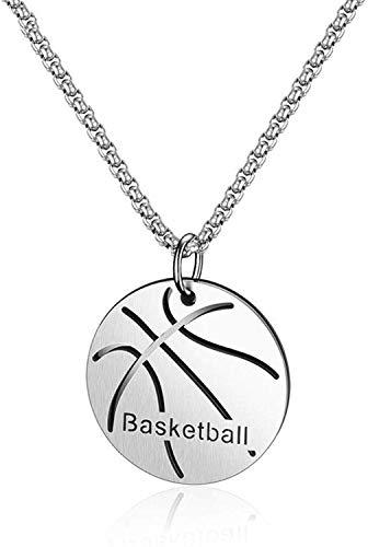 N/A Herren-Halskette mit Basketballanhänger Edelstahl silberfarben