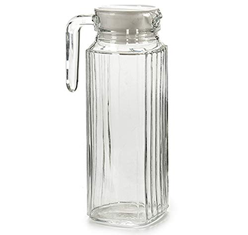 MGE - Jarra de Vidrio para Agua con Tapa - Jarra de Vidrio para Frigorífico - Botella para Té, Zumo de Frutas, Limonada - Botella Transparente - 1 L