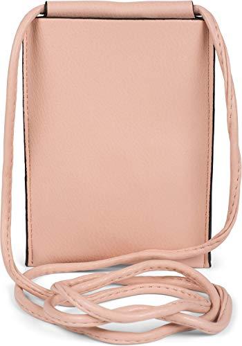 styleBREAKER Damen Handy Umhängetasche Unifarben Matt, Einfarbig, Schultertasche, Handy-Tragetasche, Mini Bag 02012352, Farbe:Rose