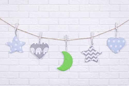 Amilian® Hängedeko Stern Herz Mond 5 Stück Design21 Wanddeko Anhängsel Gehänge Baby für Kinderbett NEU