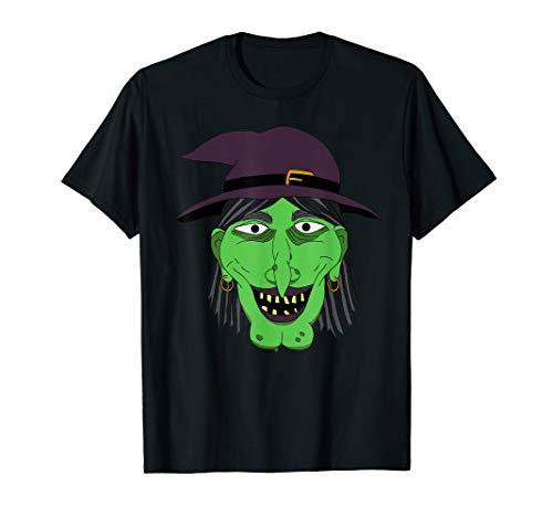 Graphic Green Hexengesicht Halloween Easy Kostüm T-Shirt