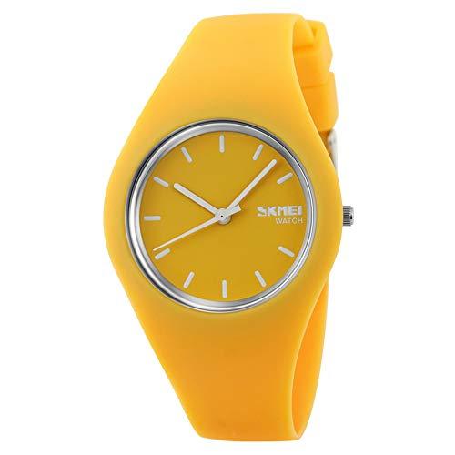 FeiWen Relojes de Mujer y Niña Minimalismo Fashion Estilo Cuarzo Analógico Goma Bisel con Correa Elegante Casual Reloj de Pulsera 12 Colorear (Amarillo)