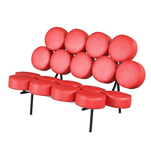 Sillón de salón de cuero retro tapizado Marshmallow sofá silla, reclinable de diseño extraíble, marco de acero inoxidable, adecuado para sala de estar, apartamento, vestíbulo del hotel
