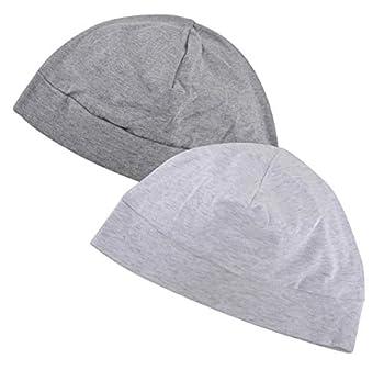 Headshion Skull Cap Men & Women Multifunctional Headwear Bike Hard Hat Helmet Liner Cotton Beanie Sleep Caps - 2 Pack