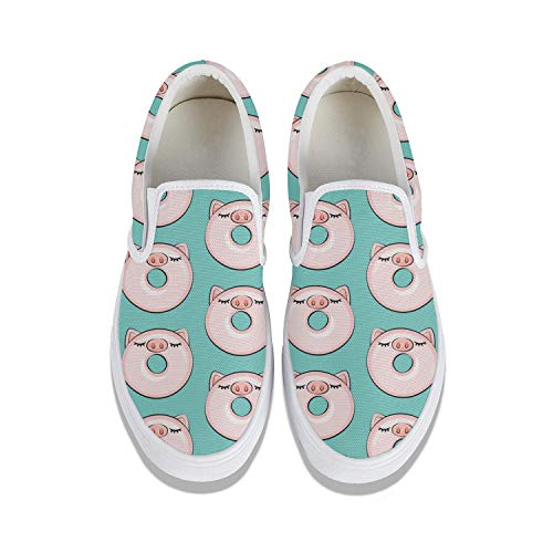 Piggy Donut Cute Pig Classic Women Canvas Slip-On Shoes Sneaker