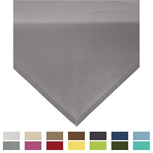 REDBEST Mitteldecke, Tischdecke Uni Seattle, 100% Baumwolle - Robustes, glattes Gewebe, mit hochwertigem Kuvertsaum, grau Größe 80x80 cm (weitere Farben, Größen)