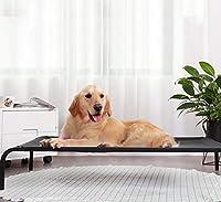 屋外の高架犬用ベッド、特大中小犬用の冷却犬用ベッド、キャンプやビーチ用の携帯用ペットベッド メッシュを備えた丈夫なサマーフレーム,S