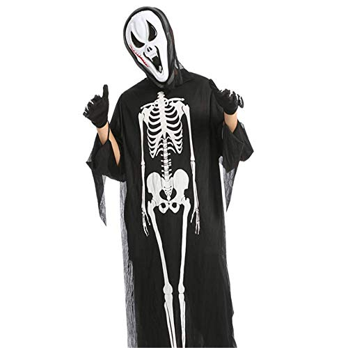N/D Mscara De Calavera De Cosplay De Halloween, Ropa De Esqueleto De Fiesta De Bar, Ropa De Terror De Fiesta De Disfraces.