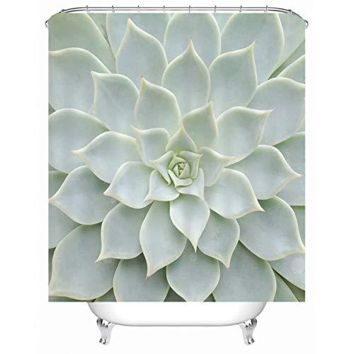 Cenliva Luxus Duschvorhang, Duschvorhang Natur Grün Badvorhang Sukkulenten Polyester