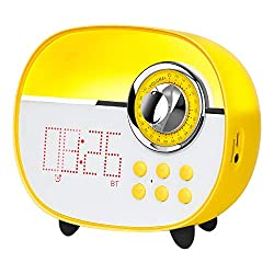 LEMEGA CR1+ Kids Alarm Clock, Bluetooth Speaker FM Radio, Supports TF Card/Aux/Handsfree & Colorful Night Lamp,Compact Clock for Desk Bedroom Kitchen- Yellow