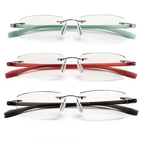 HIYANJN Rimless Reading Glasses For Women Tr90 Blue Light Blocking Eyeglasses Lightweight Frameless Computer Readers(3-Pack,2.5)