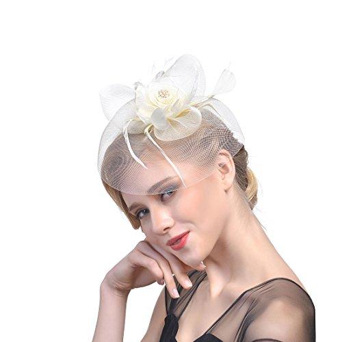 Wcysin Sinamay Fascinator Hat Cocktail Headwear for Bridal Headpiece with Veil (Beige)