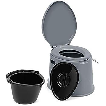 GOPLUS Toilette Portable 5L, Supporter 200KG, Toilette Sèche avec Couvercle, Seau Amovible avec Poignée, Anti-odeur, Nettoyage Pratique, Utilisation Familiale Disponible, pour Camping, Extérieur, Gris