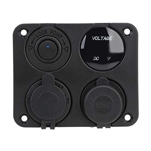 LIANGJIN 4 en 1 Cargador de automóviles 12V Encendedor de cigarrillos DUAL USB cargador encendido On-off Switch 4.2A Voltmeter Fit para Marine RV Camper Camper Vehículos (Color : Blue)