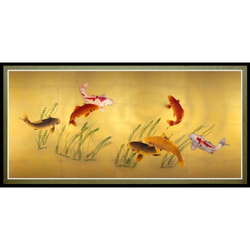 Oriental Furniture Seven Lucky Fish Canvas Wall Art