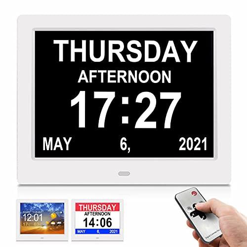 SSA 8 Zoll Digital Wecker, Digitaler Kalender Tag Uhr Für Demenz, sehschwachen Gelesen Werden, Senioren, Sehschwache und Alzheimer Patienten Digitale Uhr, Kalender für Senioren, WiFi Wettervorhersage