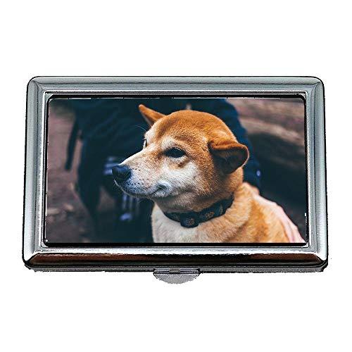 Zigaretten-Aufbewahrungsbehälter/Box, Hund Hunde Haustier Gesicht Kragen Tier Domestic Doggy, Visitenkartenetui Visitenkartenetui Edelstahl