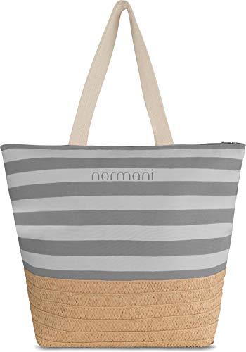 normani XXL Strandtasche mit Henkeln und Innentasche - Shopper groß - Damen Schultertasche - Tasche mit Stroh 30 Liter Farbe Grau