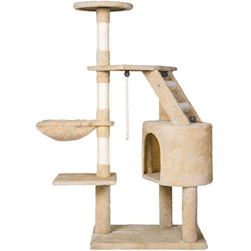 "Merax 48""H Cat TreesTower Condo House Cat Furniture with Scratching Post(Beige)"