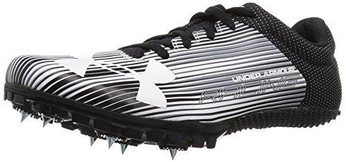 Under Armour Men's Kick Sprint Spike Running Shoe, White (100)/Black, 5