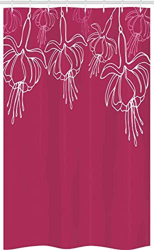 ABAKUHAUS Fuchsie Schmaler Duschvorhang, Blumensommerblüten, Badezimmer Deko Set aus Stoff mit Haken, 120 x 180 cm, Dunkle Magenta Weiß