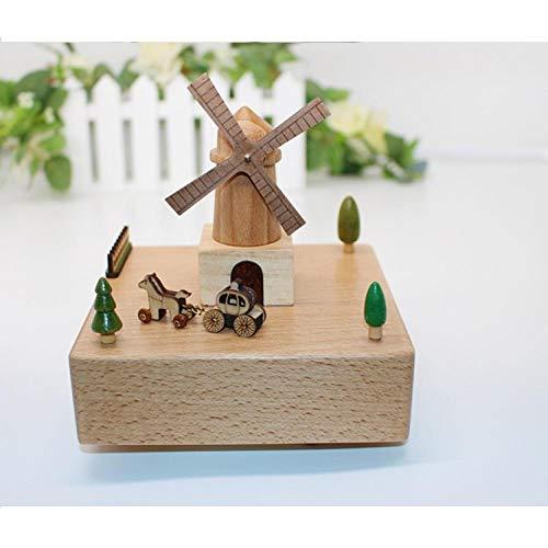 PLBB3K Regalos Festivos del día para Las Novias para los Regalos de Amante Regalos de Madera Maciza Caja de música Caja de música Caja de música Azul Marino (Color : Wood Color)