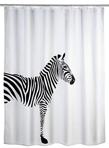 WENKO Anti-Schimmel Duschvorhang Wild, Textil-Vorhang mit Antischimmel Effekt fürs Badezimmer, waschbar, wasserabweisend, mit Ringen zur Befestigung an der Duschstange, 180 x 200 cm