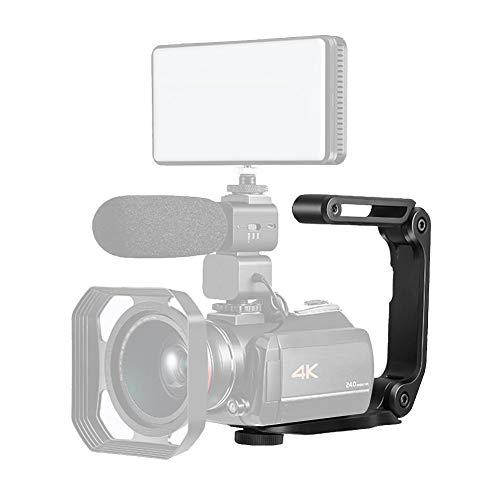 Bindpo Manija de la cámara, videograbadora en U Videocámara Estabilizador de Mano Soporte del Soporte del Agarre con Orificios de Tornillo universales para micrófono, LED y Otros Accesorios Digitales