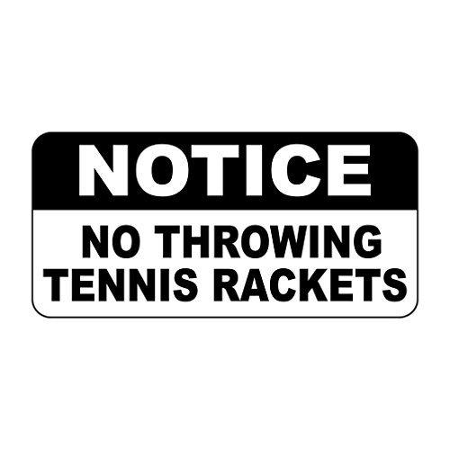 Metallschild Notice No Throwing Tennisschläger Retro Vintage Stil