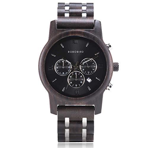Men Wooden Watch Handmade Luxury Wood Metal Strap Lightweight Classic Wood Wrist Watch for Men