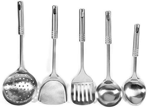 YunYun 5 Unids/set Cucharas de Utensilios de Cocina de Acero Inoxidable Multifuncionales Herramientas de Cocina