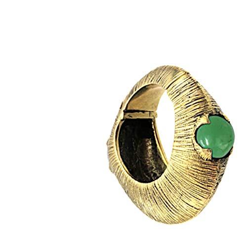 CHICNET Piercing de aro con jade verde, espiral de expansión de latón en oro, a partir de 6 mm, 2 ga, dilatador de oreja, dilatador de oreja, dilatador de oreja