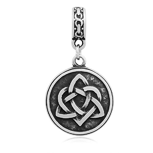 GemStorm Stainless Steel Dangling Celtic Knot Charm Bead for European Snake Chain Bracelets