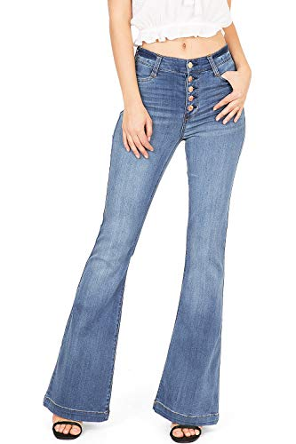 Celebrity Pink Women's Juniors High Waisted Flared Bell Bottom Jeans (9, Faded)