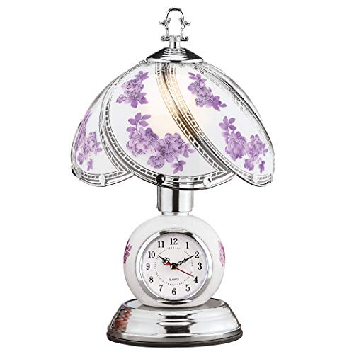 Rose Glass Panel Touch Lamp with Analog Clock - Silver-Toned Base - 3 Levels of Brightness - Glass, Metal - 9'Dia x 14.5'H, 60'L Cord - Blue or Lavender