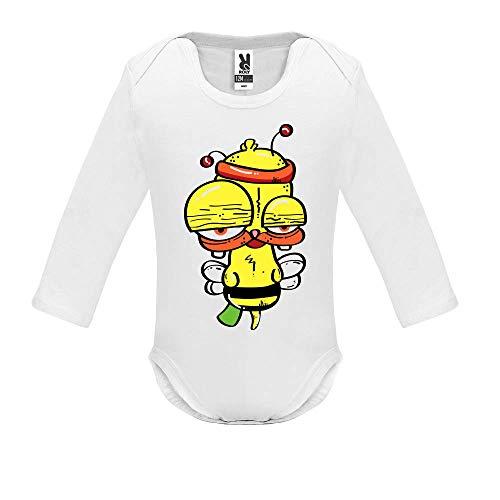LookMyKase Body bébé - Manche Longue - Funny Bee - Bébé Garçon - Blanc - 18MOIS