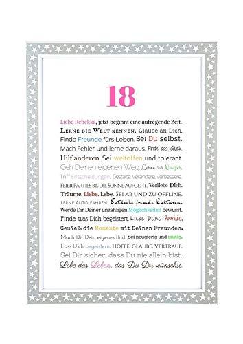 18. Geburtstag – Geschenkidee zur Volljährigkeit – Personalisiertes Bild mit Rahmen – Geburtstagsgeschenk für Mädchen/Frauen oder Beigabe zum Geldgeschenk, Kunstdruck, DIN A4 - 5