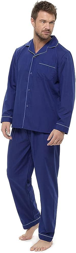 Mens Traditional Polycotton Button Through Tailored Pajamas