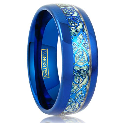 King's Cross Dazzling Glow in The Dark 8mm Royal Blue Low Dome Tungsten Carbide Band Style Ring w/Matching Blue Celtic Dragon Inlay. (15)