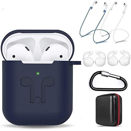 amasing AirPods Case 7 in 1 for Airpods 1&2 Accessories Kits Protective Silicone Cover for Airpod Gen1 2 (Front Led Visible) Included 2 Ear Hook /2 Staps/1 Clips Tips Grips/1 Zipper Box (Blue)